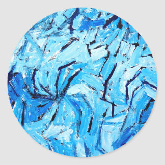 Blue Pinwheels ( abstract expressionism ) Round Sticker
