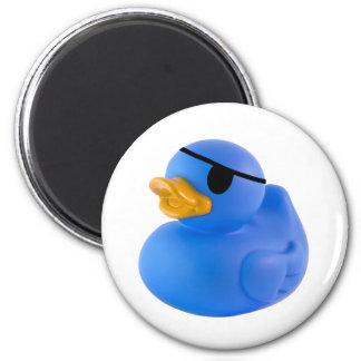 Blue pirate rubber duck magnet