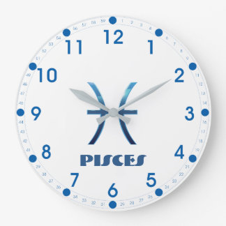 Blue Pisces Zodiac Sign On White Large Clock