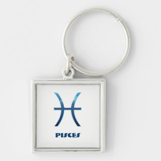 Blue Pisces Zodiac Signs On White Key Ring