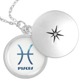 Blue Pisces Zodiac Signs On White Locket Necklace