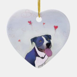 Blue Pit Good Dog Ceramic Heart Decoration