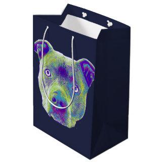 Blue Pitbull terrier dog medium Gift Bag