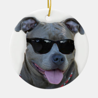 Blue pitbull with glasses ceramic ornament