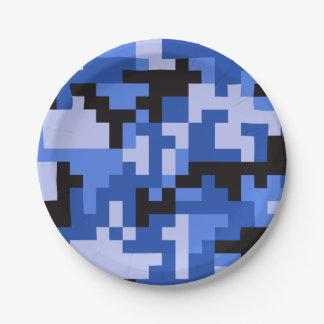 Blue Pixel Army Camo pattern Paper Plate