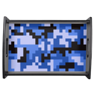 Blue Pixel Army Camo pattern Serving Tray