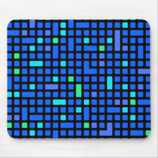 Blue Pixel or square pattern Mouse Pad