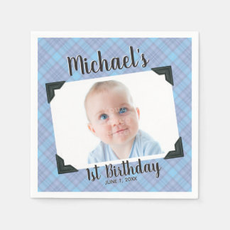 Blue Plaid 1st Birthday Photo With Name & Date Disposable Serviettes
