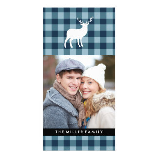 Blue Plaid and White Stag | Holiday Photo Greeting Card