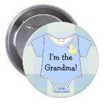 Blue Plaid-Baby Shower Grandma Pinback Button