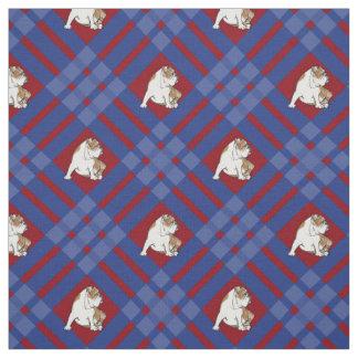 Blue Plaid Bulldog Fabric