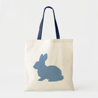 Blue Plaid Bunny Tote Bag