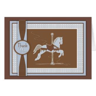 Blue Plaid Carousel Horse Thank You Card