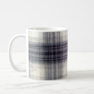 Blue plaid coffee mug