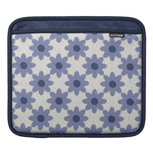 Blue Plaid Daisies iPad Sleeves