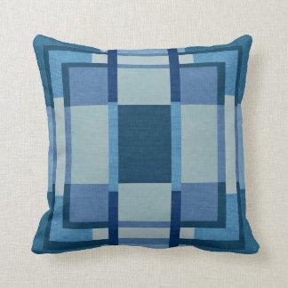 Blue Plaid Design Cotton Throw Pillow