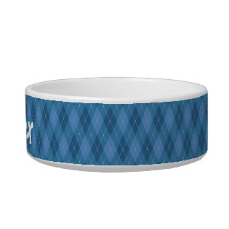 Blue Plaid Dog Bowl (2 Size Options)