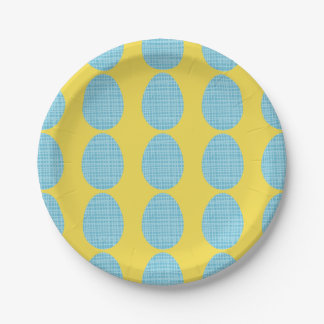 Blue Plaid Easter Eggs Paper Plate