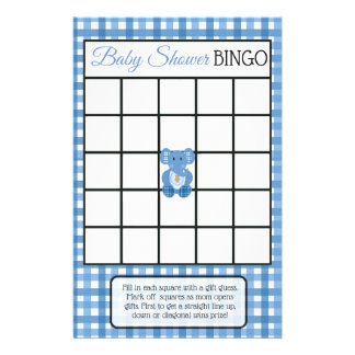 Blue Plaid Elephant Themed baby shower games Flyer
