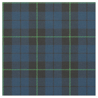 Blue Plaid fabric with green stripe print