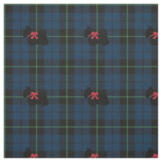 Blue Plaid fabric with green stripe print scottie