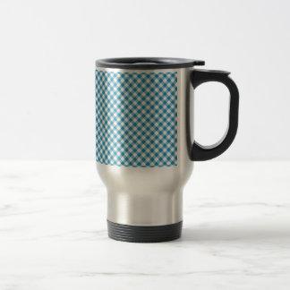 Blue plaid gingham coffee mug