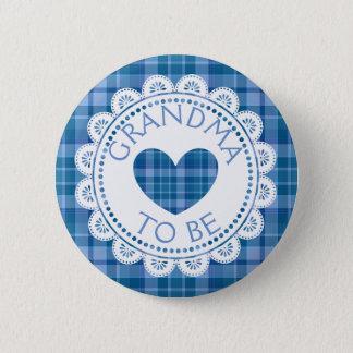 Blue  Plaid Grandma to Be Button