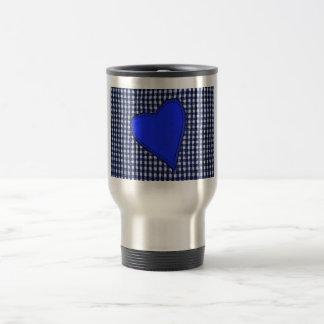 Blue Plaid Heart Coffee Mug