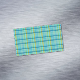 Blue Plaid Magnetic Business Cards