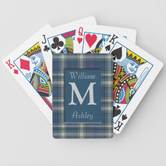 Blue Plaid Monogrammed Playing Cards