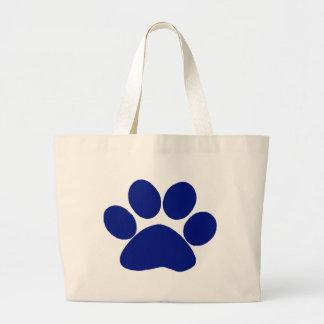 Blue Plaid Paw Print Jumbo Tote Bag