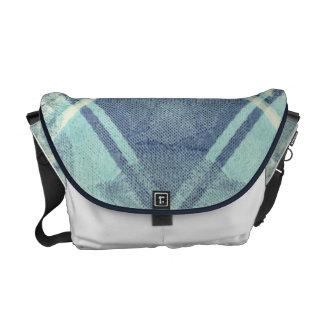 Blue Plaid Print Messenger Bags