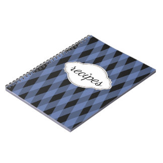 Blue Plaid Recipe Book Spiral Note Books