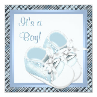 Blue Plaid Shoes Black Blue Plaid Baby Boy Shower Card