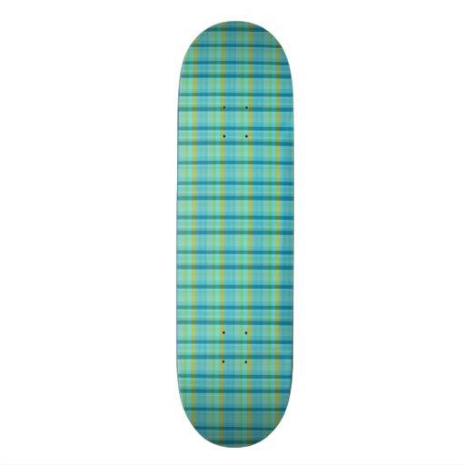 Blue Plaid Skate Board Decks