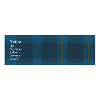 Blue Plaid - Skinny Business Card Template