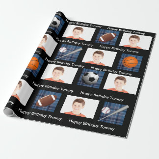 Blue Plaid & Sports w/Photo Birthday Wrapping Paper
