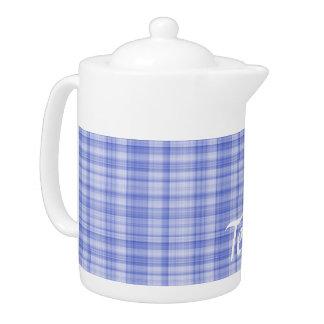 Blue Plaid Teapot