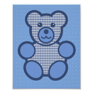 Blue Plaid Teddy Bear Poster