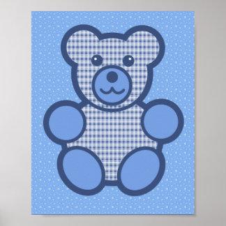 Blue Plaid Teddy Bear Poster