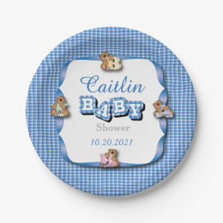 Blue Plaid with Baby Bears | Baby Boy Shower 7 Inch Paper Plate