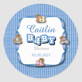 Blue Plaid with Baby Bears | Baby Boy Shower Classic Round Sticker