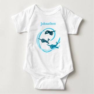 Blue planes with swirling vapor trails baby bodysuit