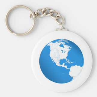 Blue Planet Earth Basic Round Button Key Ring