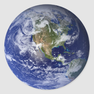 Blue Planet Earth Classic Round Sticker