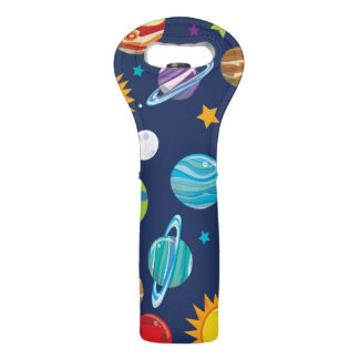 Blue Planets and Galaxy Wine Bag
