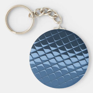 Blue Plastic Tiles Basic Round Button Key Ring