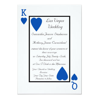 """Blue Playing Card King/Queen Wedding Invitations 5"""" X 7"""" Invitation Card"""