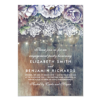 Blue Plum Maroon Rustic Floral Engagement Party Card