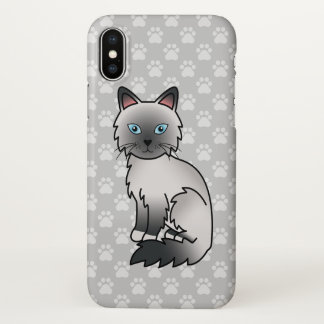 Blue Point Birman / Ragdoll Cat Cartoon Drawing iPhone X Case